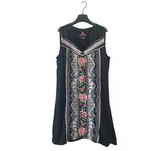 Johnny Was Sabine Yoke Embroidered Tunic Dress Lrg